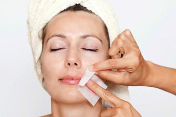 facial hair depilation in a beauty spa