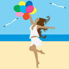 Woman with balloons dancing on the beach seagulls abstract art modern flat style creative vector illustration