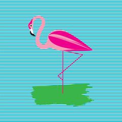 pink flamingo art creative abstract modern blue background vector