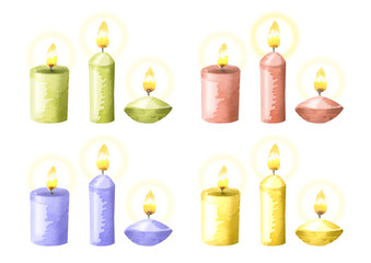 Isolated aromatic candles. Watercolor set on white background