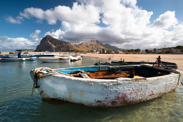 Old Boats in a port in San Vito Lo Capo, Sicily, Italy