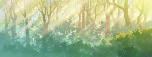 sunrise in the morning forest painting