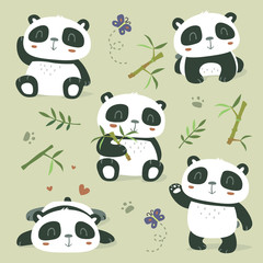vector cartoon panda set