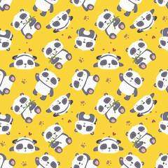 vector cartoon panda seamless pattern
