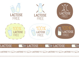 vector lactose free sign set