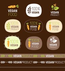 vector vegan sign set