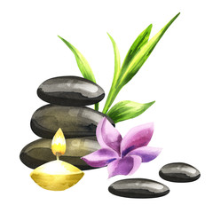 Relax SPA compozition with massage stones, aroma candle, bamboo leaves and a flower. Isolated watercolor on a white background