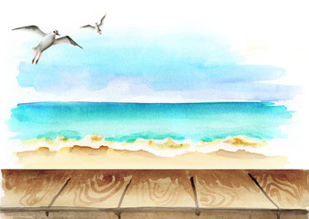 Seaside background. Watercolor template