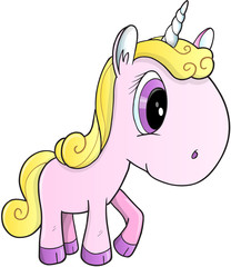 Pretty Unicorn Vector Illustration Art