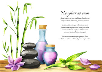 Spa treatment with aromatic oils, bath salts, massage stones and plumeria flower and bamboo. Watercolor template on a white background