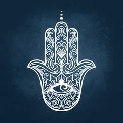 Ornate hand drawn hamsa. Popular Arabic and Jewish amulet. Vecto