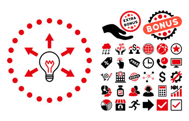 Idea Bulb icon with bonus icon set. Vector illustration style is flat iconic bicolor symbols, intensive red and black colors, white background.