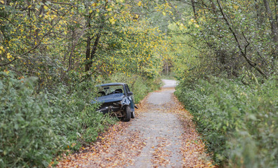 Car crash in the autumn forest