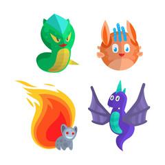 Fantasy monsters vector set.