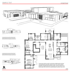 Wireframe blueprint drawing of 3d building house vector see more malvernweather Choice Image