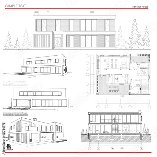 Wireframe blueprint drawing of 3d building house vector wireframe blueprint drawing of 3d building house vector architectural template background malvernweather Choice Image