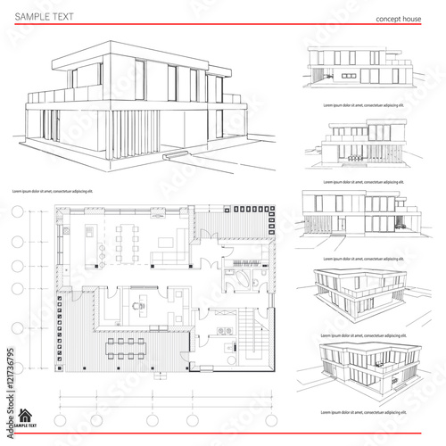 Wireframe blueprint drawing of 3d building house vector wireframe blueprint drawing of 3d building house vector architectural template background malvernweather Images