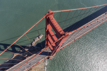 Aerial View of the Golden Gate Bridge Suspension Tower and Cable