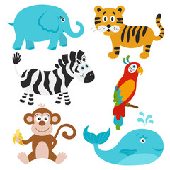 Vector  set of cute cartoon animals.