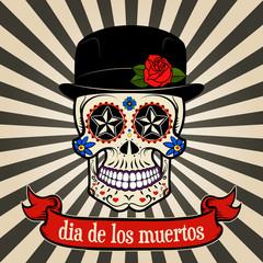 day of the dead. dia de los muertos.  Sugar skull on vintage bac