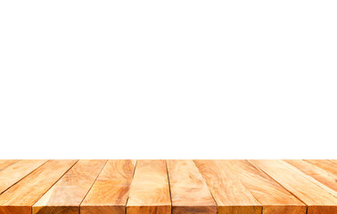 Wood table top on white background.