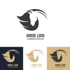 Emblem template with horse head. Design elements for logo, label