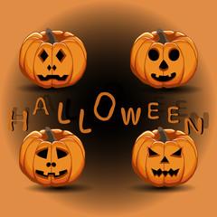 Vector illustration of logo for yellow pumpkin halloween