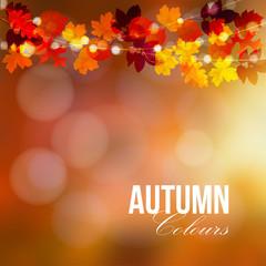 Autumn, fall card, banner. Garden party decoration. String of polygonal oak, maple leaves, lights. Modern vector illustration