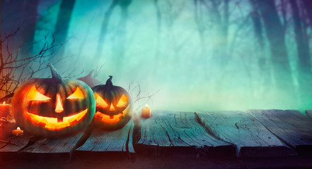 Halloween design with pumpkins