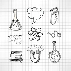 Back to school: Doodle style science laboratory elements