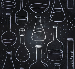 Back to School: science lab objects doodle vintage style sketche
