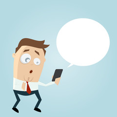 surprised businessman with smartphone and empty speech bubble