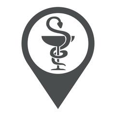 Icono plano localizacion farmacia gris