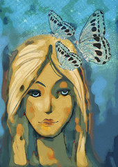 Contemporary painting of abstract woman with butterflys. Dreams concept.
