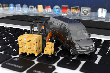 Online shopping, mail delivery, forklift 3d boxes on a laptop
