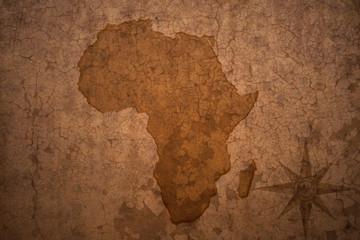 africa map on vintage crack paper background
