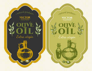Labels olive oils hand drawn ink vintage vector