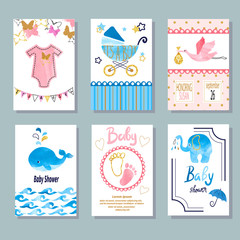 Watercolor Baby Shower set. Vector newborn celebration and invitation cards design.