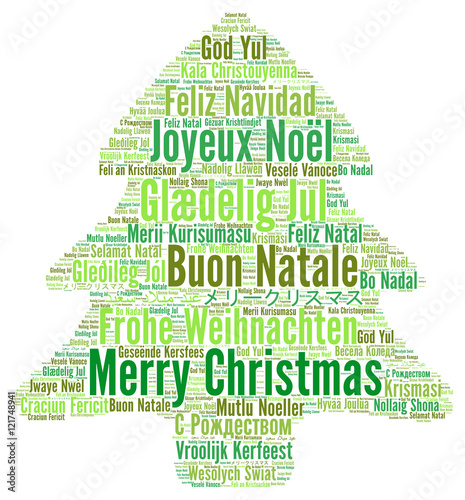 Merry Christmas In Different Languages.Merry Christmas In Different Languages Word Cloud Stock