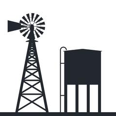 vector background of rural windpump and water tank