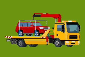 Car towing truck, evacuator Online, roadside assistance   , Business and Service Concept, Flat 3d vector isometric illustration.