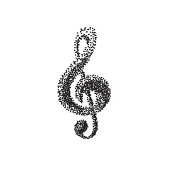 Illustration of a black clef isolated on white background