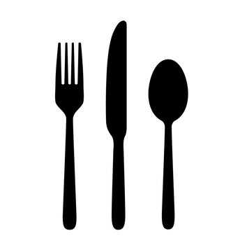 The contours of the cutlery. Spoon, knife, fork. Ready to use vector elements.