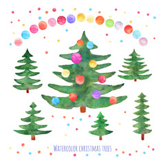 Vector set of watercolor green Christmas trees with balls on whi
