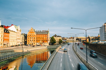 Stockholm, Sweden. View Of Embankment And Centralbron Highway In