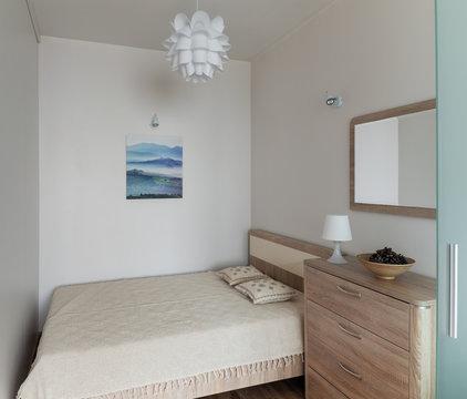 Beroom interior in small modern apartment in scandinavian style