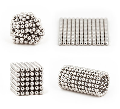 Composition from magnetic metal balls, from chaos to ideal shape