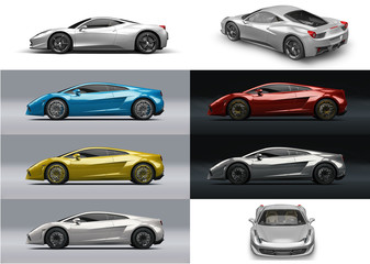 Super sport car in different colors and perspective