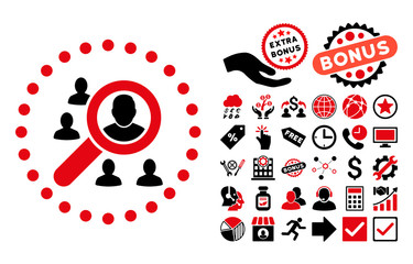Marketing pictograph with bonus images. Vector illustration style is flat iconic bicolor symbols, intensive red and black colors, white background.