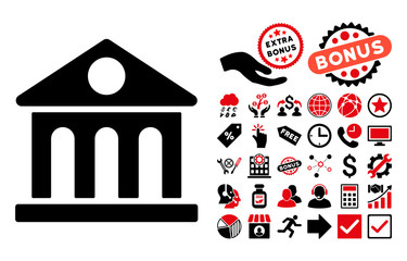 Museum Building pictograph with bonus pictograph collection. Vector illustration style is flat iconic bicolor symbols, intensive red and black colors, white background.